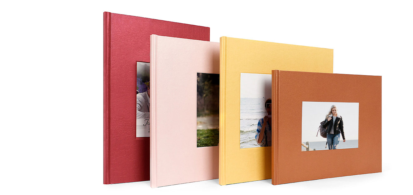 Wrap up of debossed hardcover photo book